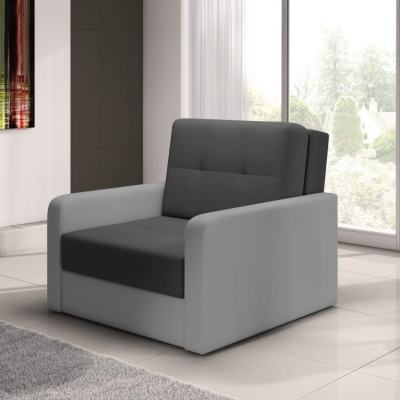 Armchair Bed (Single Bed) - Almansa. Dark Grey Seat, Light Grey Armrests. N8
