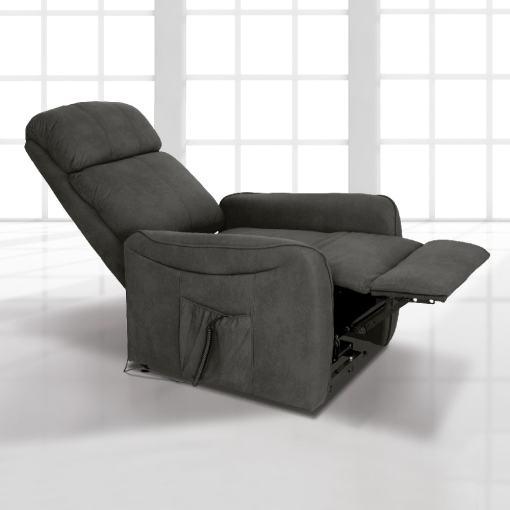 Sillón relax eléctrico con reposapiés elevable y respaldo reclinable. Color gris - Cieza