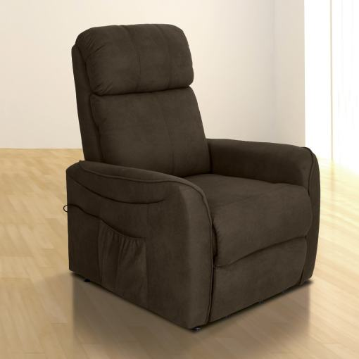 Electric Recliner Power Lift Armchair – Cieza. Brown Fabric (Chocolate)