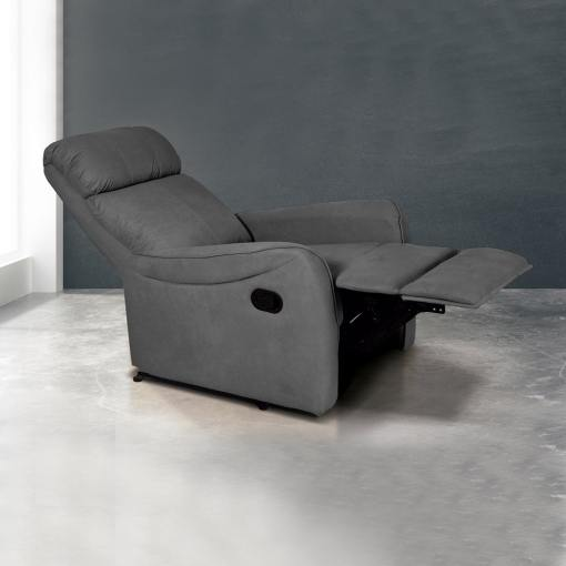 Sillón relax manual con reposapiés elevable y respaldo reclinable. Color gris - Cieza