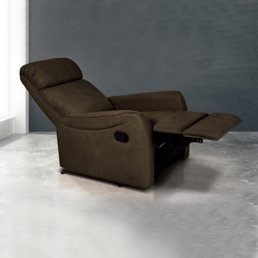 Sillón relax manual con reposapiés elevable y respaldo reclinable. Color marrón (chocolate) - Cieza