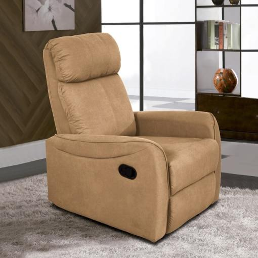 Sillón relax manual reclinable con palanca. Tela microfibra beige - Cieza
