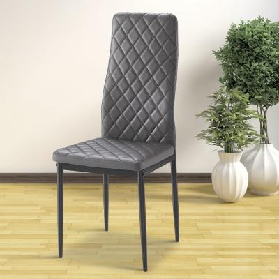Grey Chair with Padded Seat and Backrest - Tibi