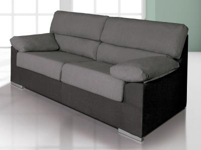 "Inexpensive 3-Seater Sofa in Synthetic Fabric - Salamanca. Grey (""Marengo"") and Black Colours"