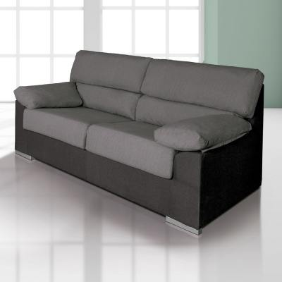 "Inexpensive 3-Seater Sofa in Microfibre Fabric - Salamanca. Grey (""Marengo"") and Black Colours"
