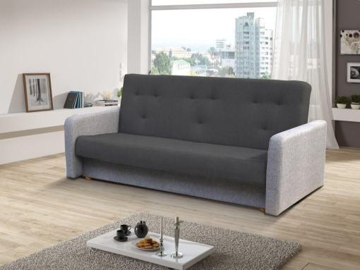 Sofá cama clic clac - Jumilia. Asiento y respaldo - tela gris oscuro, brazos - tela gris claro