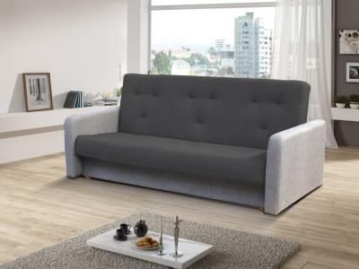 Click Clack Sofa Bed with Narrow Armrests - Jumilia. Seat and Backrest in Dark Grey Fabric, Armrests and Base in Light Grey Fabric