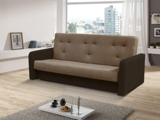 Sofá cama clic clac - Jumilia. Asiento y respaldo - tela marrón claro, brazos - tela marrón oscuro