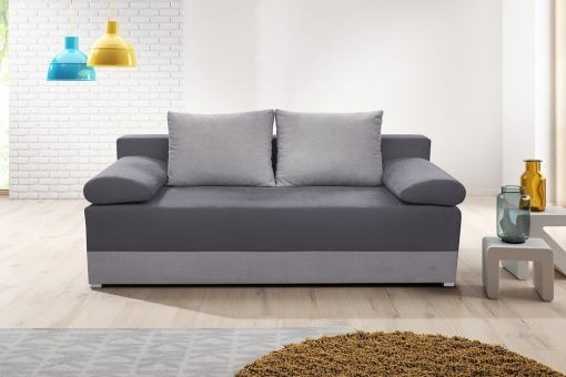 Sofa Bed with Side Cushions (Armrests) - Lorca. Seat and Armrests in Dark Grey, Base and Backrest Cushions in Dark Grey