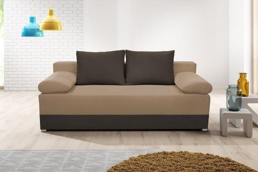 Sofá cama con cojines laterales (brazos) - Lorca. Asiento y brasos - tela marrón(mocca), base y respaldo - tela marrón (café)