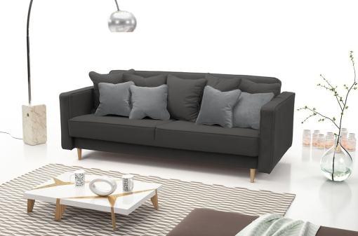 Sofá cama nórdico 3 plazas - Uppsala. Color gris oscuro, cojines - gris claro