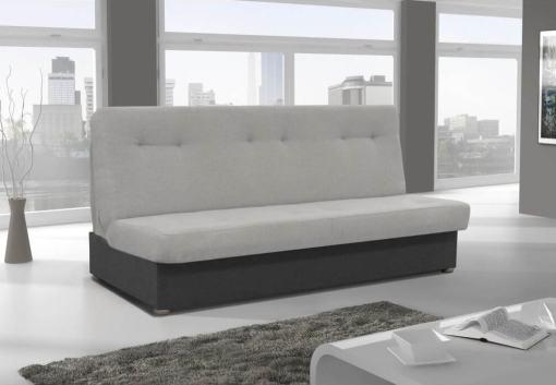 Sofá cama sin chaise longue - Alzira. Asiento y respaldo - tela gris claro. Base - tela gris oscuro