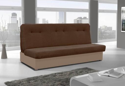 Sofá cama sin chaise longue - Alzira. Asiento y respaldo tela marrón oscuro. Base tela marrón claro