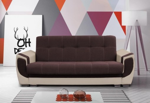 "Sofa Bed - Tarancón. Brown (""Coffee"") Fabric and Beige Synthetic Leather"