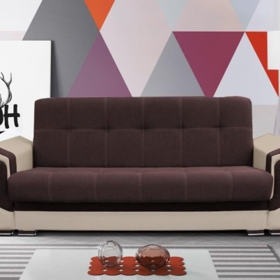 """Sofa Bed - Tarancón. Brown (""""Coffee"""") Fabric and Beige Synthetic Leather"""