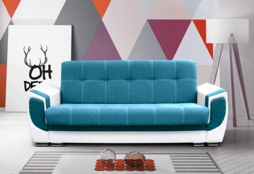 """Sofa Bed - Tarancón. Blue (""""Ocean"""") Fabric and White Synthetic Leather"""