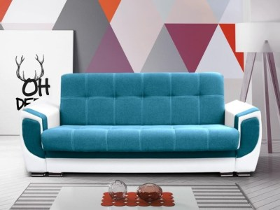 Sofá cama tapizado en tela y piel sintética - Tarancón. Tela - océano (azul), piel sintética - blanco