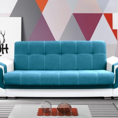 "Sofa Bed - Tarancón. Blue (""Ocean"") Fabric and White Synthetic Leather"