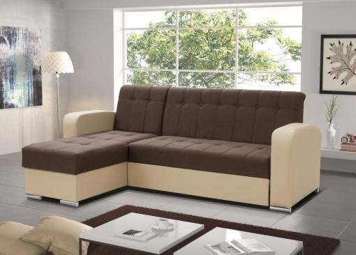 Brown / Beige Style. Left Corner. Chaise Longue Sofa with Pull-Out Bed and Storage - Salerno