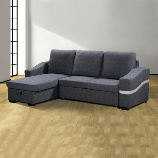 "Convertible Chaise Longue Sofa Bed with Storage - Santander. Grey (""marengo"") Fabric, Left Corner"