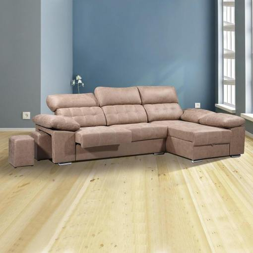 """Угловой диван с отделением для хранения, выдвигающимися сиденьями и регулируемыми подголовниками - Granada. Коричневая ткань (""""piedra""""), правый угол"""