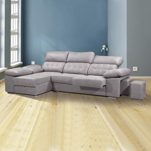 """Угловой диван с отделением для хранения, выдвигающимися сиденьями и регулируемыми подголовниками - Granada. Серая ткань (""""cemento""""), левый угол"""