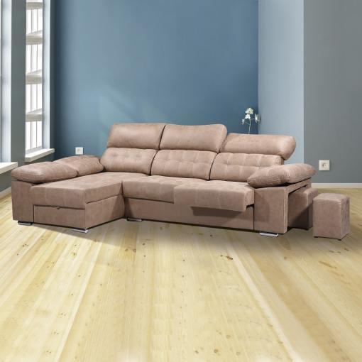 """Угловой диван с отделением для хранения, выдвигающимися сиденьями и регулируемыми подголовниками - Granada. Коричневая ткань (""""piedra""""), левый угол"""