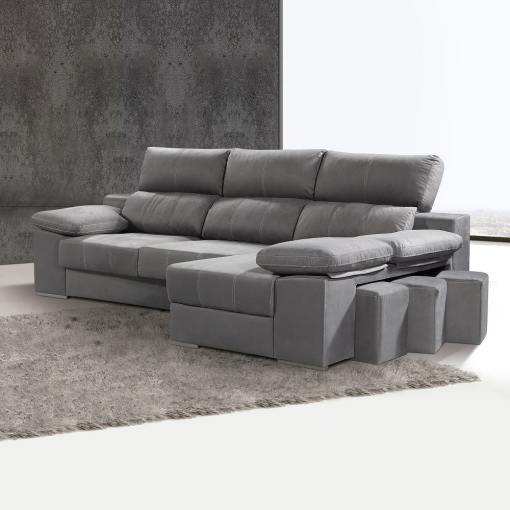 Chaise Longue Sofa with Sliding Seats and Reclining Headrests - Seville. Right Corner, Grey Colour