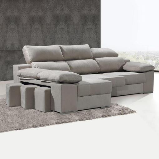 Chaise Longue Sofa with Sliding Seats and Reclining Headrests - Seville. Left Corner, Beige Colour