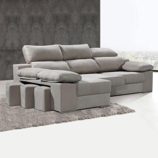 Угловой диван с выдвигающимися сиденьями и регулируемыми спинками - Seville. Бежевый цвет, левый угол