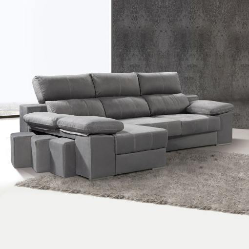 Sofá cheslón con asientos extraíbles y reposacabezas reclinables - Seville. Cheslón lado izquierdo, color gris
