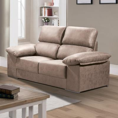 Two-Seat Sofa in Stain-Resistant Microfibre Fabric - Bilbao. Brown (Piedra) Colour