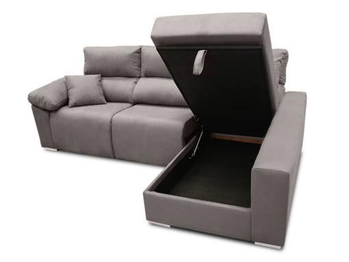Arcón abierto. Sofá chaise longue eléctrico 2 asientos motorizados - Valencia. Color gris (plomo). Lado derecho