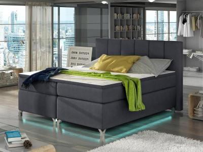 Кровать 160 x 200 см, с ножками, подсветкой LED, матрасом, изголовьем и топпером – Barbara. Тёмно-серая ткань