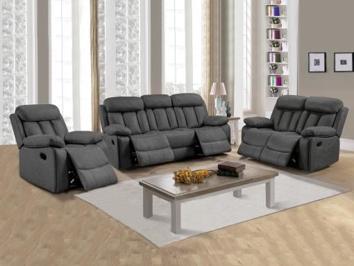 Conjunto 3+2+1 de dos sofás y un sillón relax Barcelona. Tela gris Luna