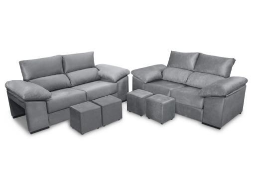 Conjunto de sofás 3+2, asientos deslizantes modo cerrado - modelo Toledo. Tela antimanchas color gris
