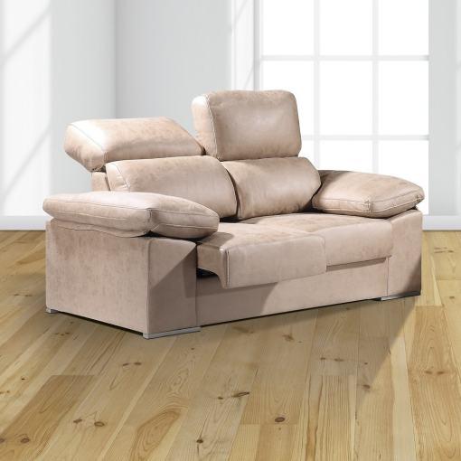 Sofá 2 plazas con asientos deslizantes y respaldos reclinables - Toledo. Color beige (piedra)