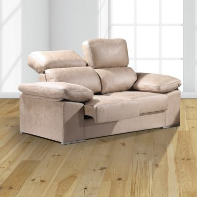 2 Seater Sofa with Sliding Seats and Reclining Backrests – Toledo. Beige colour (piedra)