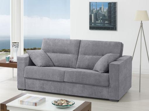 Sofá cama italiana (apertura, sistema italiana). Tela gris claro - modelo Madrid
