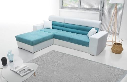 Sofá chaise longue con arcón - Montpellier. Tela azul, polipiel blanca. Chaiselong izquierda