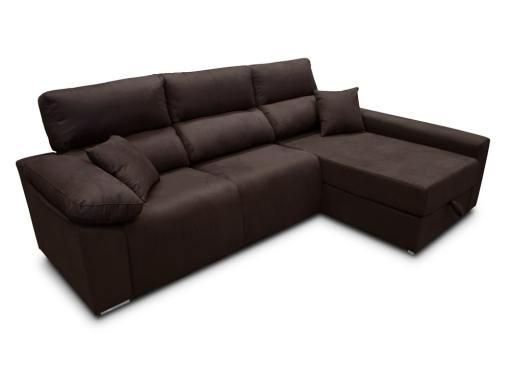 Sofá chaise longue (derecha) relax eléctrico 2 asientos motorizados - Valencia. Tela antimanchas marrón oscuro (chocolate)