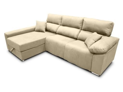 Sofá chaise longue (izquierda) relax eléctrico 2 asientos motorizados - Valencia. Tela antimanchas beige (crema)