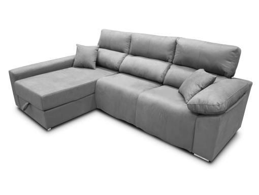 Sofá chaise longue (izquierda) relax eléctrico 2 asientos motorizados - Valencia. Tela antimanchas gris claro (plata)