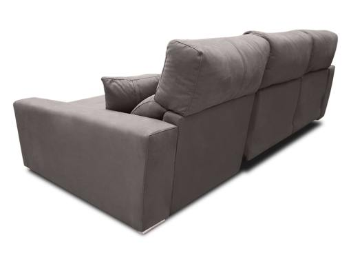 Tapizado detrás. Sofá chaise longue eléctrico 2 asientos motorizados - Valencia. Color gris (plomo). Lado derecho