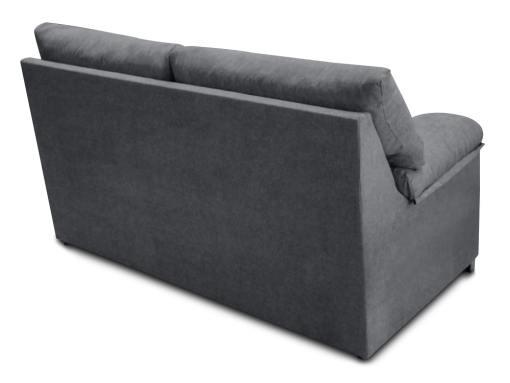 Vista detrás. Sofá 3 plazas económico tapizado en tela sintética gris - Salamanca