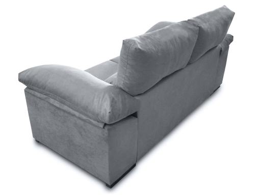 Vista detrás. Sofá dos plazas, asientos deslizantes, respaldos reclinables, 2 pufs - Toledo. Tela antimanchas gris