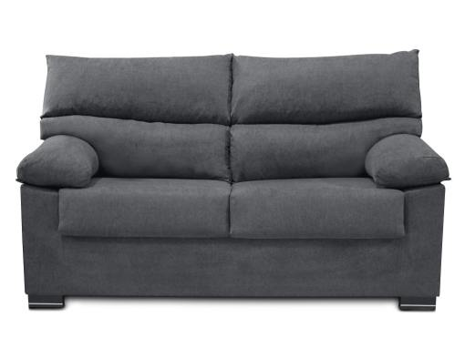 Vista frontal. Sofá 3 plazas económico tapizado en tela sintética gris - Salamanca
