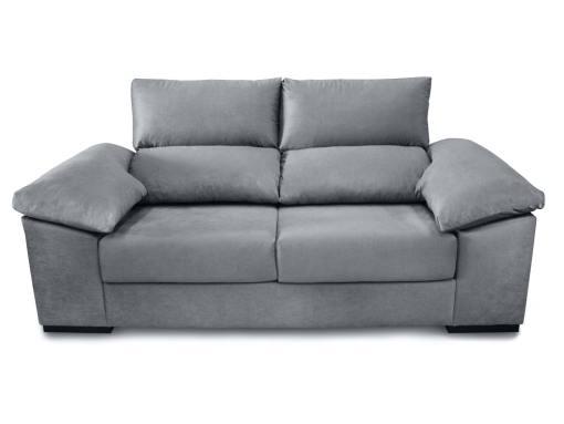 Vista frontal. Sofá tres plazas con asientos deslizantes, respaldos reclinables, 2 pufs - Toledo. Tela antimanchas gris