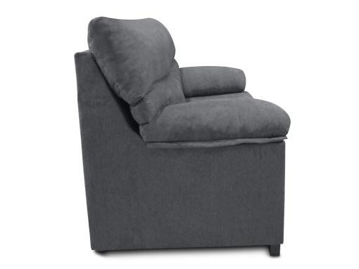 Vista lateral. Sofá 3 plazas económico tapizado en tela sintética gris - Salamanca