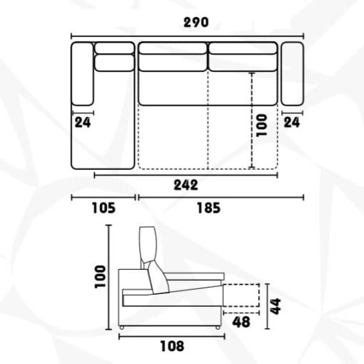 Medidas. Sofá cama con asientos deslizantes modelo Alicante